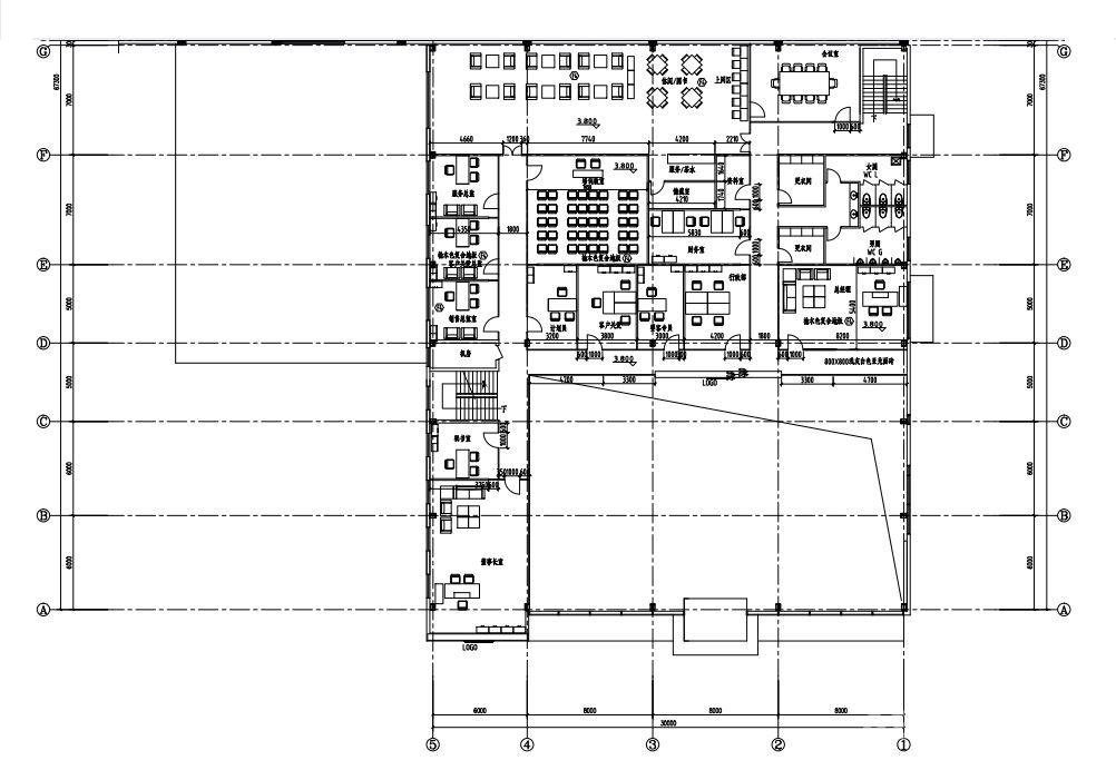 抚顺广联达汇通·上海大众斯柯达汽车4s店 二楼平面布置图